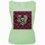 Princess Skull Heart Women s Green Tank Top