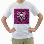 Princess Skull Heart Men s T-Shirt (White) (Two Sided)