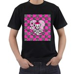 Princess Skull Heart Men s T-Shirt (Black) (Two Sided)