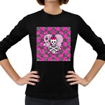 Princess Skull Heart Women s Long Sleeve Dark T-Shirt