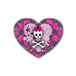 Princess Skull Heart Rubber Heart Coaster (4 pack)