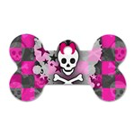 Princess Skull Heart Dog Tag Bone (One Side)