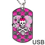 Princess Skull Heart Dog Tag USB Flash (One Side)