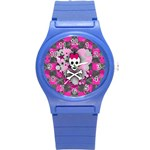 Princess Skull Heart Round Plastic Sport Watch (S)