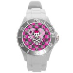 Princess Skull Heart Round Plastic Sport Watch (L)