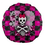 Princess Skull Heart Large 18  Premium Round Cushion