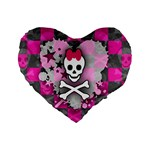 Princess Skull Heart Standard 16  Premium Heart Shape Cushion