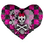 Princess Skull Heart Large 19  Premium Heart Shape Cushion