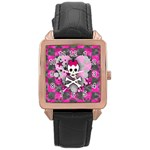 Princess Skull Heart Rose Gold Leather Watch