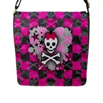Princess Skull Heart Flap Closure Messenger Bag (L)