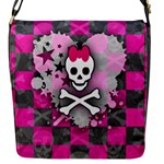 Princess Skull Heart Flap Closure Messenger Bag (S)