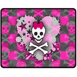 Princess Skull Heart Double Sided Fleece Blanket (Medium)