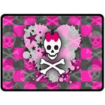 Princess Skull Heart Double Sided Fleece Blanket (Large)