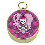 Princess Skull Heart Gold Compass