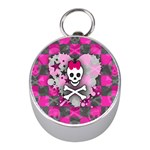 Princess Skull Heart Silver Compass (Mini)