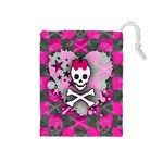 Princess Skull Heart Drawstring Pouch (Medium)