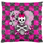 Princess Skull Heart Large Flano Cushion Case (One Side)