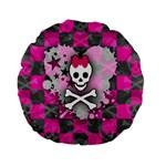 Princess Skull Heart Standard 15  Premium Flano Round Cushion