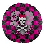 Princess Skull Heart Large 18  Premium Flano Round Cushion