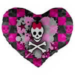 Princess Skull Heart Large 19  Premium Flano Heart Shape Cushion