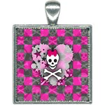 Princess Skull Heart Square Necklace
