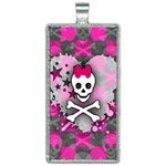 Princess Skull Heart Rectangle Necklace