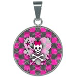 Princess Skull Heart 25mm Round Necklace