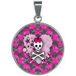Princess Skull Heart 30mm Round Necklace