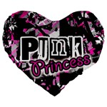 Punk Princess Large 19  Premium Flano Heart Shape Cushion