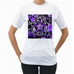 Purple Star Women s T-Shirt (White) (Two Sided)