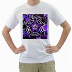 Purple Star Men s T-Shirt (White) (Two Sided)