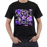 Purple Star Men s T-Shirt (Black) (Two Sided)