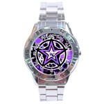 Purple Star Stainless Steel Analogue Watch