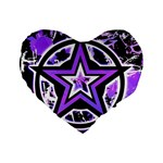 Purple Star Standard 16  Premium Heart Shape Cushion