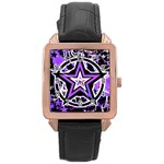 Purple Star Rose Gold Leather Watch