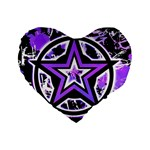 Purple Star Standard 16  Premium Flano Heart Shape Cushion