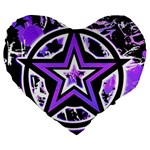 Purple Star Large 19  Premium Flano Heart Shape Cushion