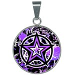 Purple Star 25mm Round Necklace