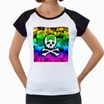Rainbow Skull Women s Cap Sleeve T