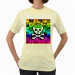 Rainbow Skull Women s Yellow T-Shirt