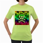 Rainbow Skull Women s Green T-Shirt