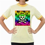 Rainbow Skull Women s Fitted Ringer T-Shirt