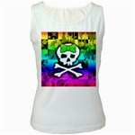 Rainbow Skull Women s White Tank Top
