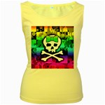 Rainbow Skull Women s Yellow Tank Top