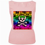 Rainbow Skull Women s Pink Tank Top