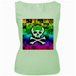 Rainbow Skull Women s Green Tank Top