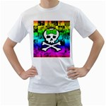 Rainbow Skull Men s T-Shirt (White) (Two Sided)
