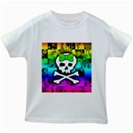 Rainbow Skull Kids  White T-Shirt