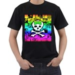 Rainbow Skull Men s T-Shirt (Black) (Two Sided)