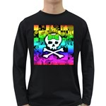 Rainbow Skull Long Sleeve Dark T-Shirt